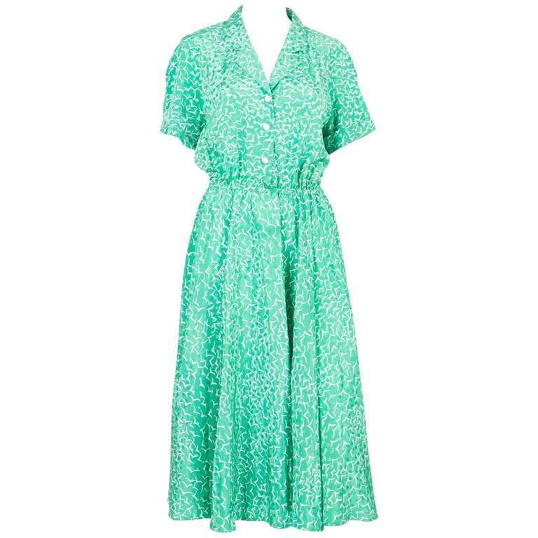1970s Ted Lapidus Green Summer Silk Dress