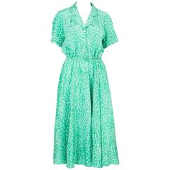 1970s Ted Lapidus Green Summer Silk Dress