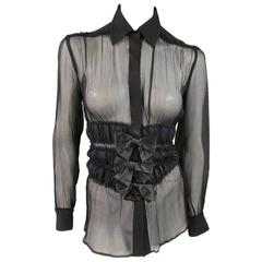 JEAN PAUL GAULTIER Size 4 Black Chiffon Ruched Bow Snap Blouse