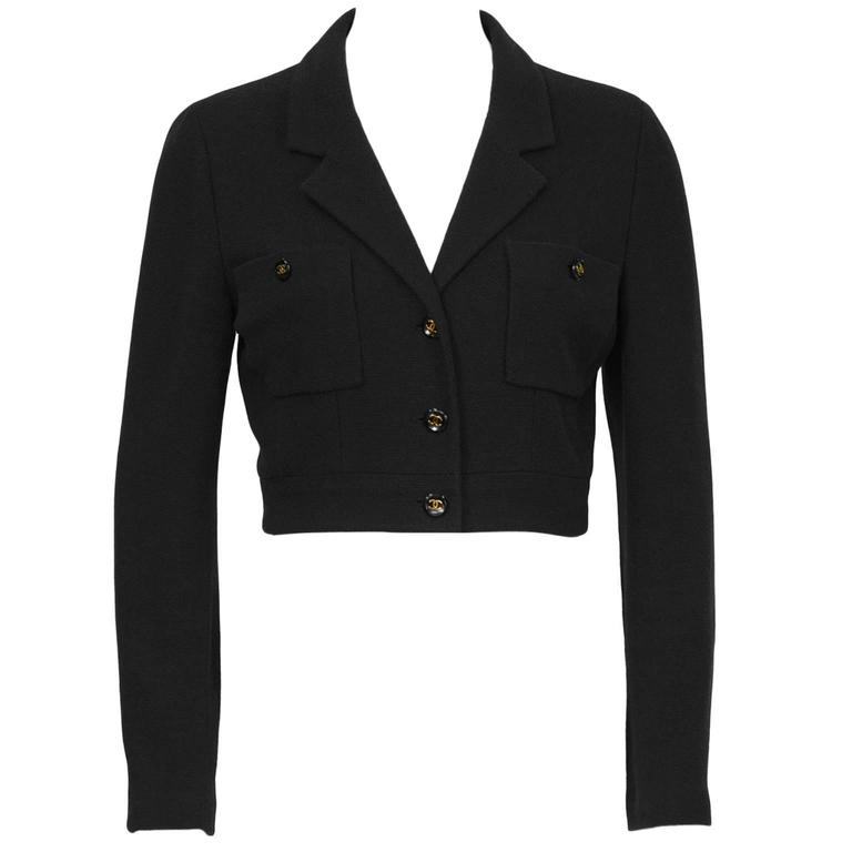 1980's Chanel Cropped /Bolero Jacket with Black & Gold CC Buttons