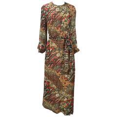 1970s Anthony Muto Multicolor Chiffon Print Maxi Dress