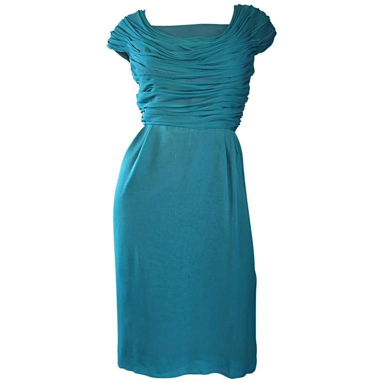1950s Elliette Lewis Teal Blue Silk Chiffon 50s Vintage Dress w/ Pleated Bodice