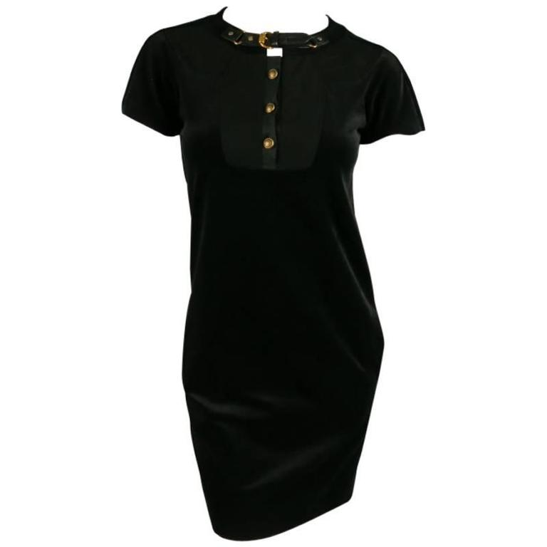 GUCCI Size 2 Black Cotton Blend Short Sleeve A-Line Dress For Sale