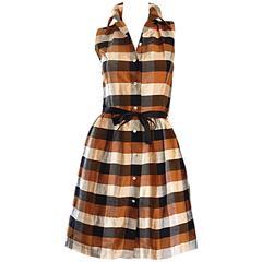 Isaac Mizrahi Vintage 1990s Does 1950s Brown & Black Plaid Silk Shirt Dress