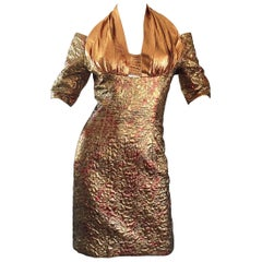 Sexy 1990s Bronze + Gold + Rose Gold Silk Brocade Vintage Halter Bod Con Dress