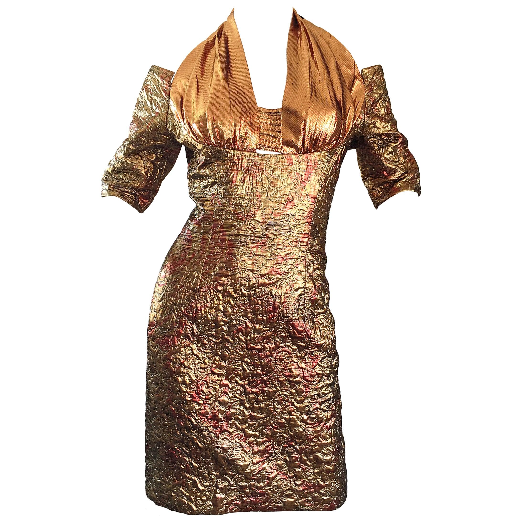 Sexy 1990s Bronze + Gold + Rose Gold Silk Brocade Vintage Halter Bod Con Dress