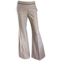 NWT Escada Beige Super Wide Flare Leg Low Rise Silk Tweed Bell Bottom Pants