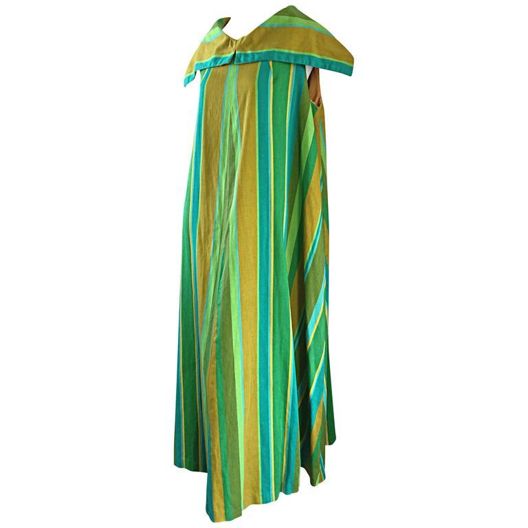 1960s Whims of California for Joseph Magnin Blue + Green 60s Caftan Maxi Dress