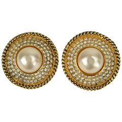 1990s Chanel Large Pearl and Rhinestones Gripoix Round Earrings