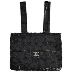 Circa1998 Chanel Black Sequined Evening Bag W/ Rhinestone CC and Silver outlines