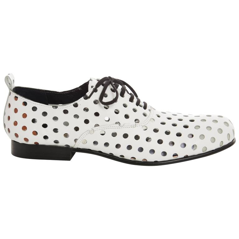 Comme des Garcons Runway White Perforated Leather Oxfords, Spring  2015 For Sale