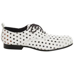 Comme des Garcons Runway White Perforated Leather Oxfords, Spring  2015