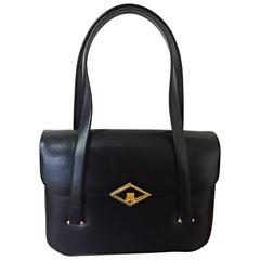 80's Vintage LANVIN classic black leather shoulder bag, tote bag with gold motif