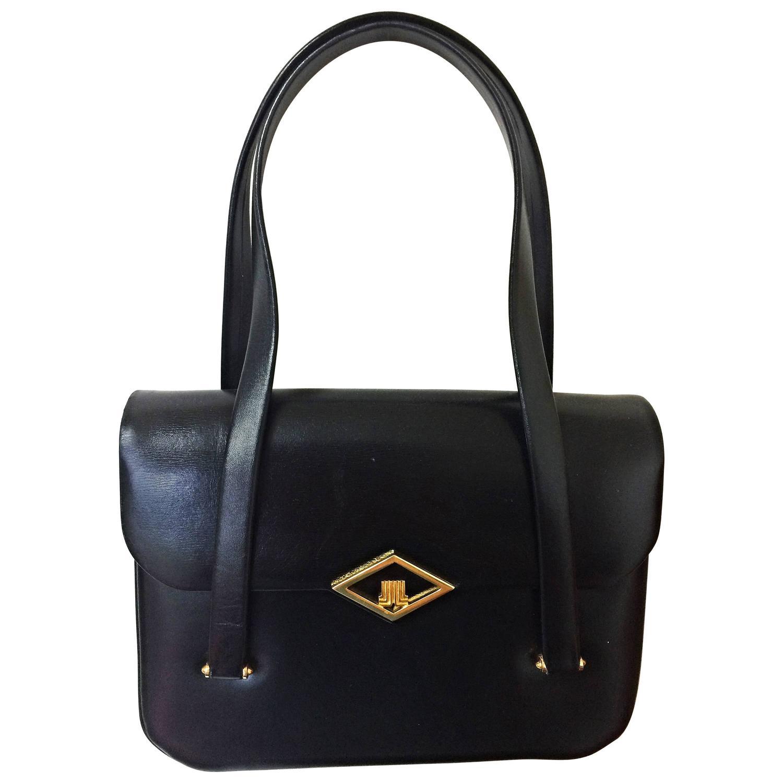 80's Vintage LANVIN classic black leather shoulder bag, tote bag ...