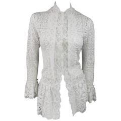 OSCAR DE LA RENTA Size 6 White Cotton Lace Crochet Spring 2013 Blouse