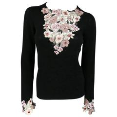 CHANEL Size S Black Cashmere Sequin Embroidered Cutout Floral Sweater