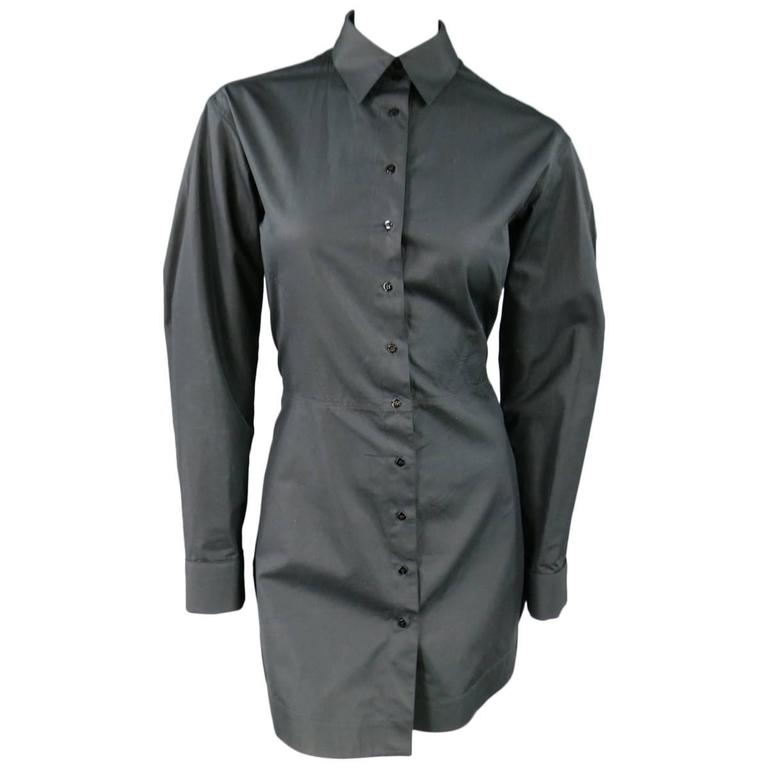 ALAIA Size 10 Black Cotton Gathered Back Skirt Collared Shirt Dress