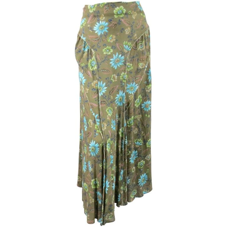 Yohji Yamamoto Y's Olive Green Blue Floral Raw Edge Maxi Skirt