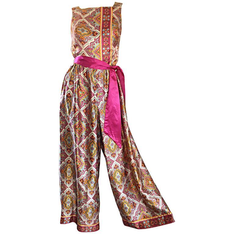Roberta Lynn Paisley Ethnic Print Silk Jumpsuit with Pink Sash, 1970s
