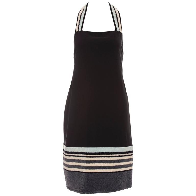 Chanel Black Halter - Dress With Terrycloth Trim, Cruise 2000 For Sale