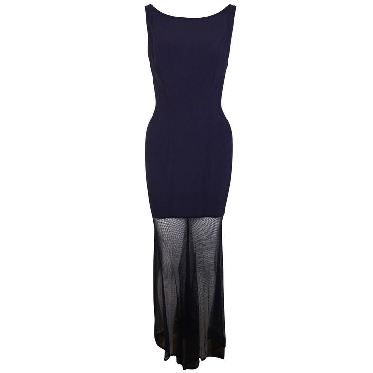 Herve Leger Violet Signature Body Con Bondage Jersey Mesh Maxi Dress