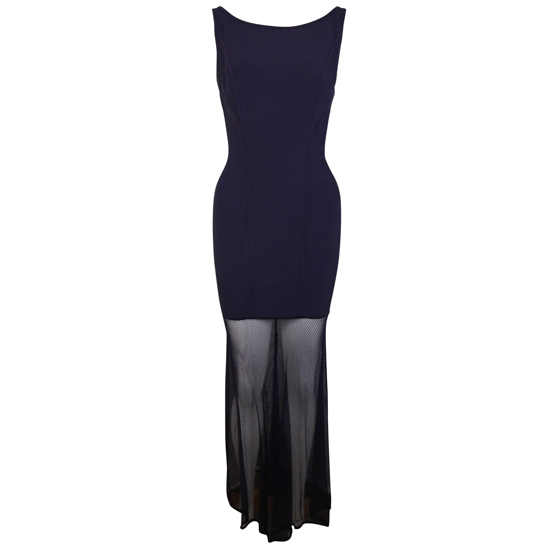 90s Herve Leger Violet Signature Body Con Bondage Jersey Mesh Maxi Dress