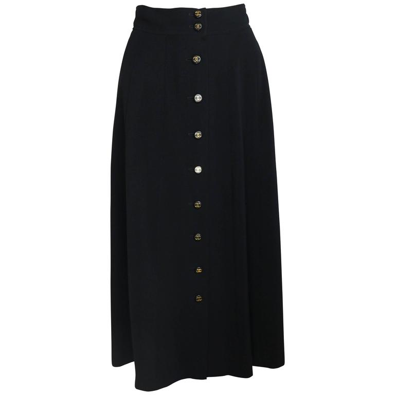 Chanel Black Wool A-Line Long Skirt  For Sale