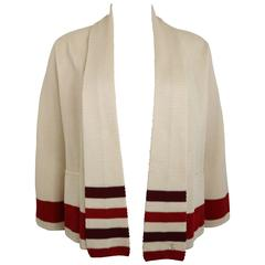 Chanel Beige Silk Three-Quarter Sleeve Cardigan