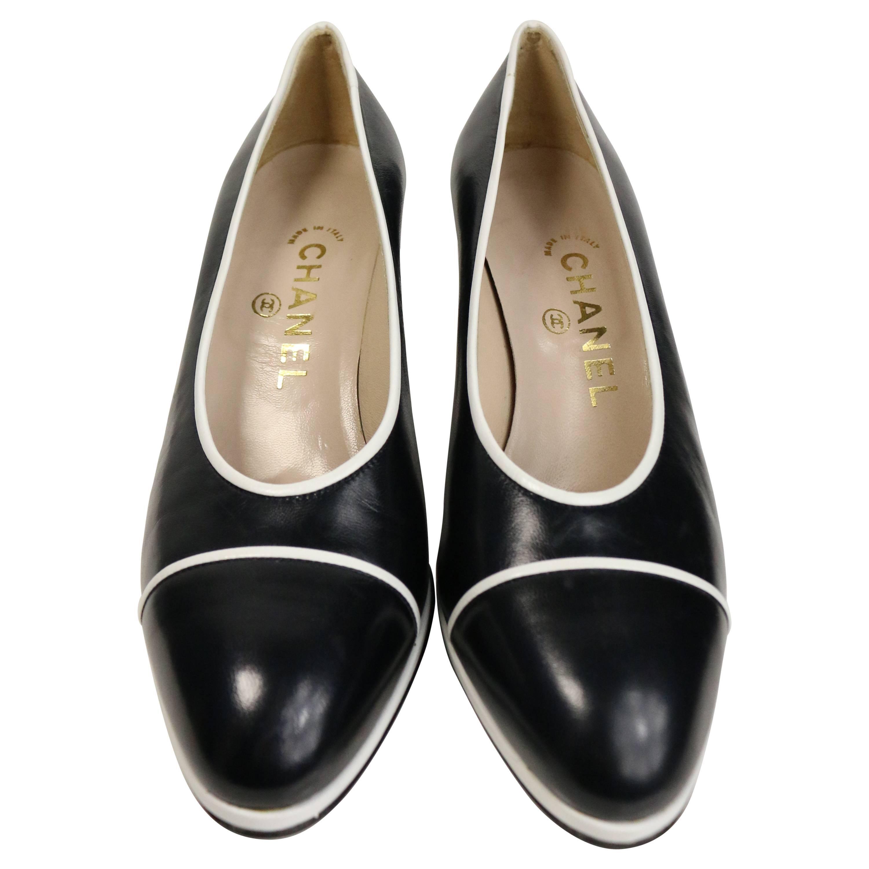 Chanel Classic Black Calfskin/White Piped Trim Pumps