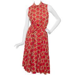 1970s Hermès Horsebit Printed Cotton Dress