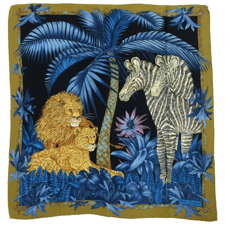 Vintage Ferragamo blue jungle silk scarf Lions & Zebras 1980s 1