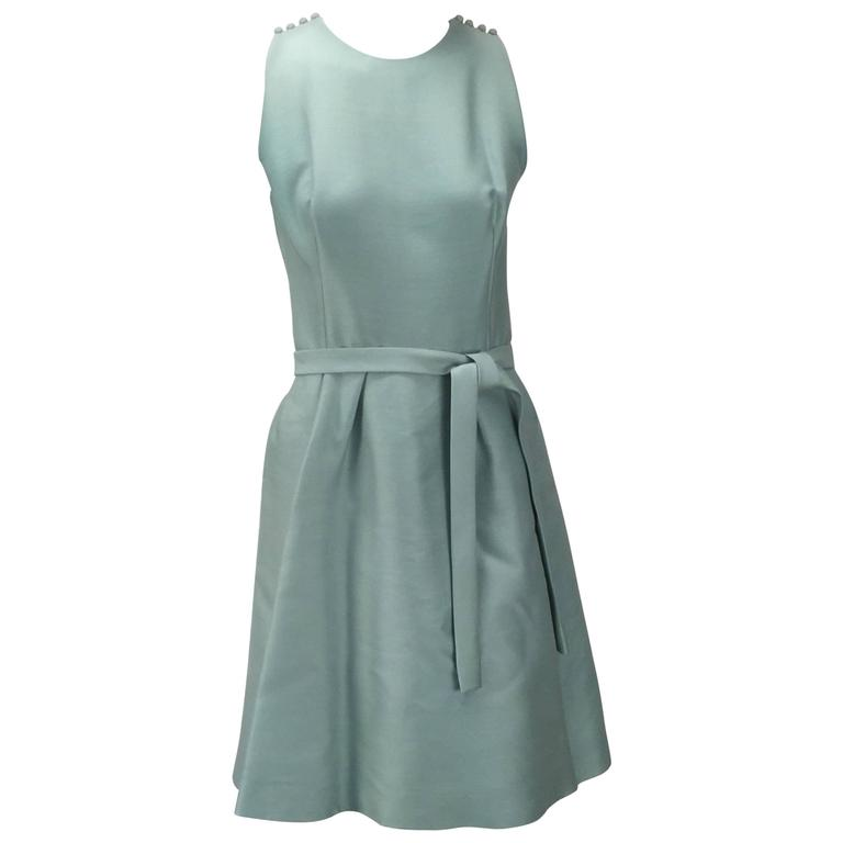 1960s Geoffrey Beene Seafoam Green Silk Sleeveless Cocktail Dress For Sale