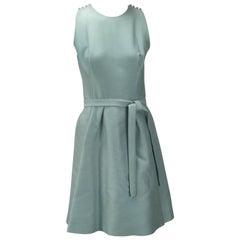 1960s Geoffrey Beene Seafoam Green Silk Sleeveless Cocktail Dress