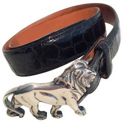 Wathne Siver Lion and leather belt