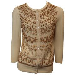 Alexander McQueen Cream Silk Blend Wood Beaded Cardigan - S