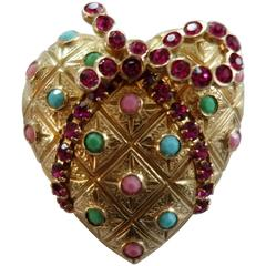 CASTLECLIFF Heart Ribbon Wrapped Gilt CZ Rhinestone Brooch Pin