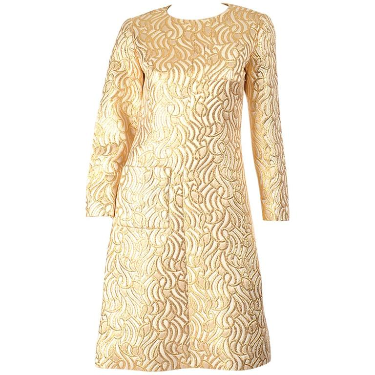 4ac5d437b0 1960s Gold Metallic and Cream Brocade Dress at 1stdibs
