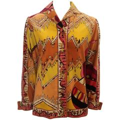 Pucci Vintage Multi Colored Velvet Shirt Jacket  - 4 - 1970's