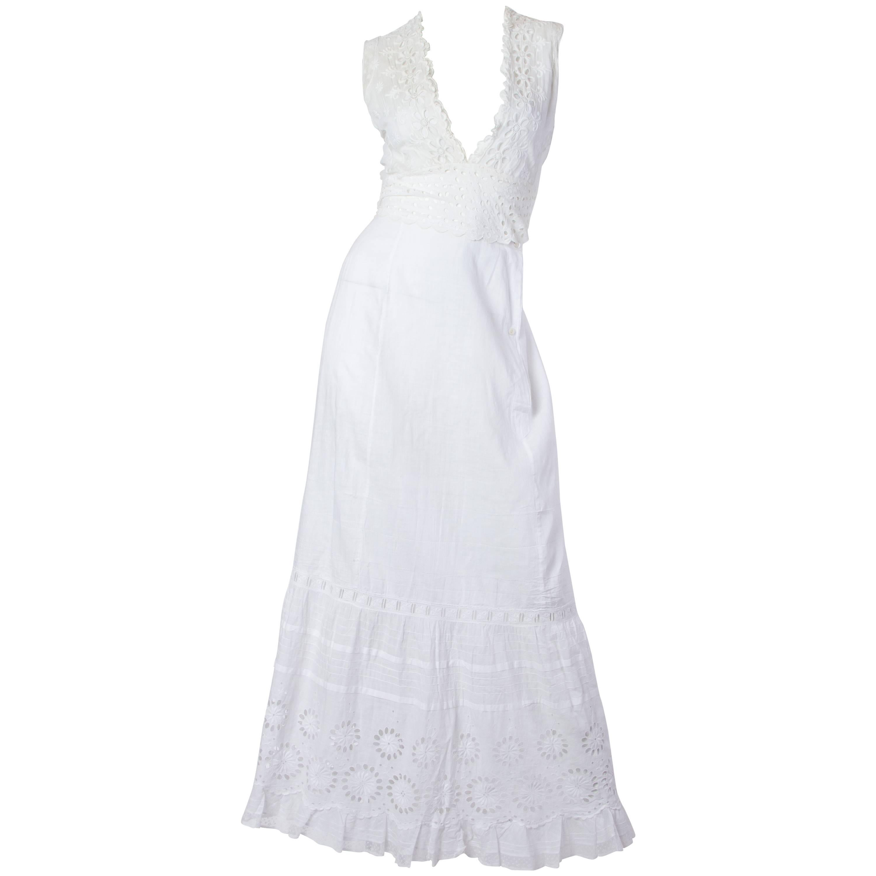 MORPHEW COLLECTION White Organic Cotton Eyelet Lace Maxi Dress Made From Victor
