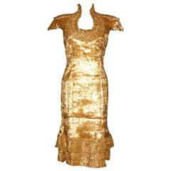 Piece Unique - Alexander McQueen Golden Evening Dress