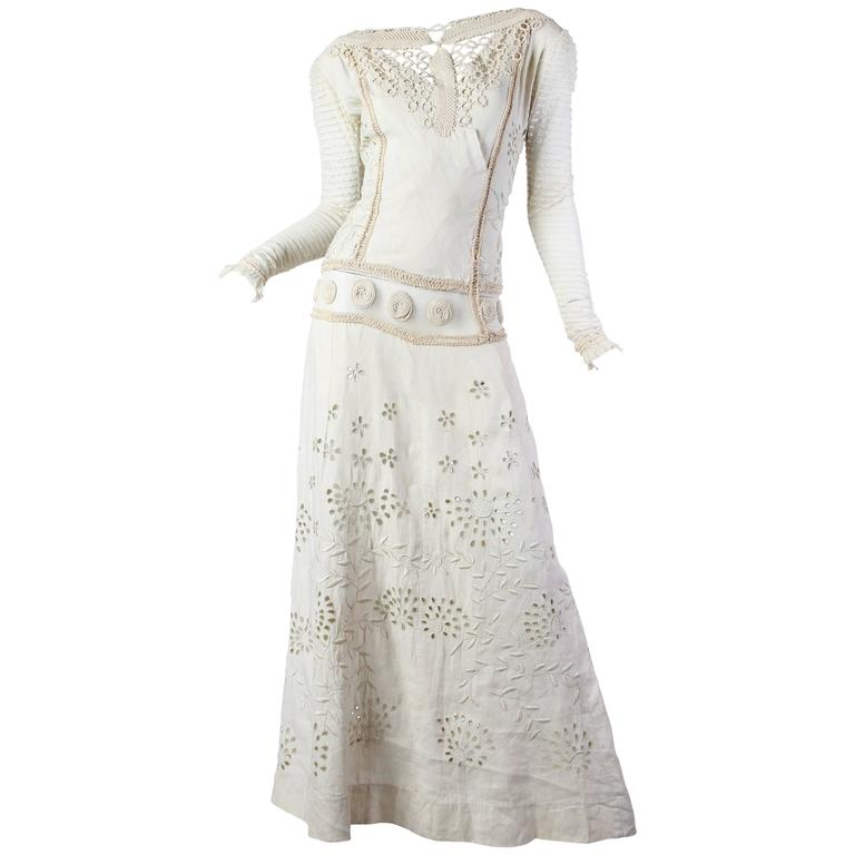 Beautifully Rebuilt Edwardian Hand Embroidered Lace Dress For Sale