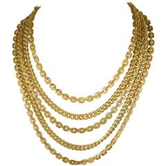Multi Strand Gold Tone Rope Link necklace