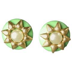 Chanel Vintage Signed 95C Green Faux Pearl Earrings
