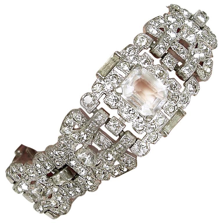 Art Deco Vintage Rhinestone Bracelet at 1stdibs