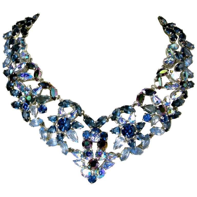Vintage Christian Dior 1960s Blue Crystal Star Necklace 1
