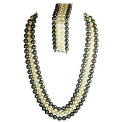 Three Strand Iridescent Vintage Faux Pearl Necklace and Bracelet