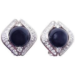 Panetta Vintage Black Faux Onyx Rhinestone Earrings