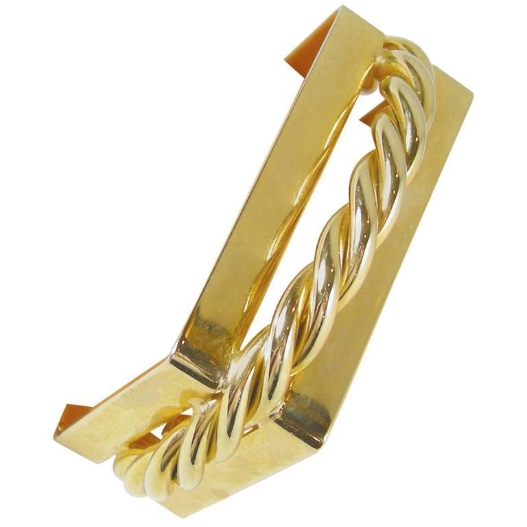 Designer Square Gold-Tone Cuff Bracelet For Sale