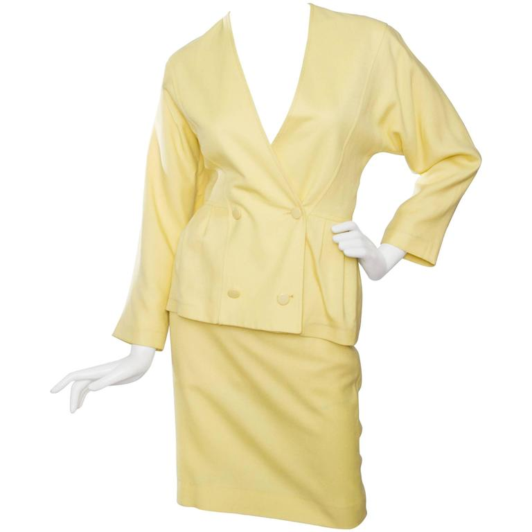 1980s Pierre Cardin Canary Yellow Linen Skirt Suit