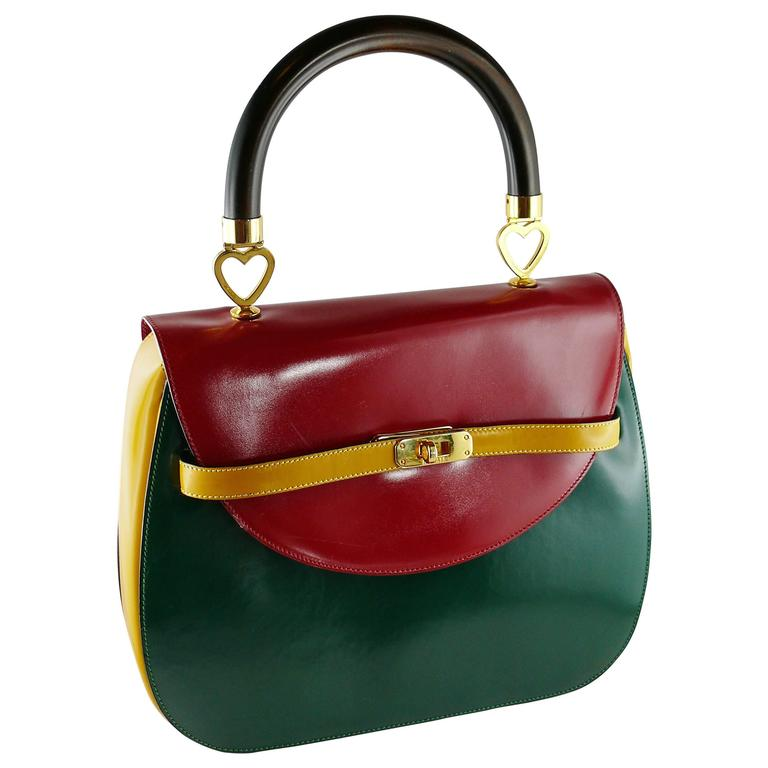 Moschino Vintage Color Block Leather Handbag